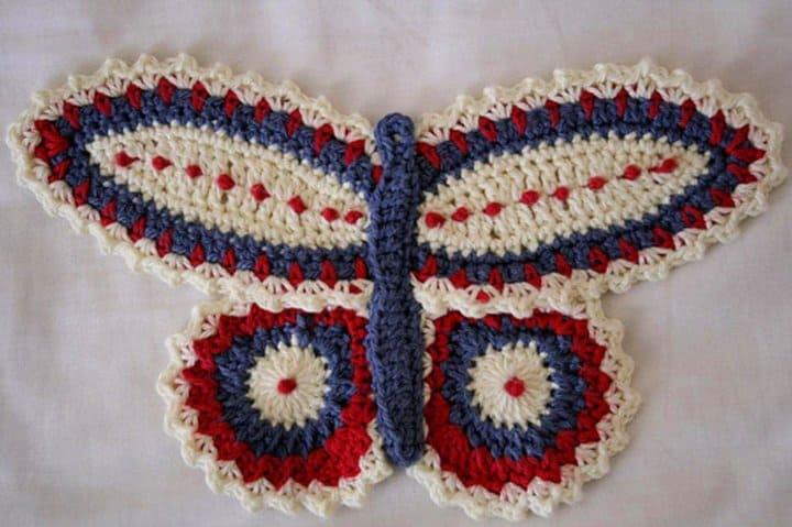 Patrón de ganchillo mariposa agarraderas
