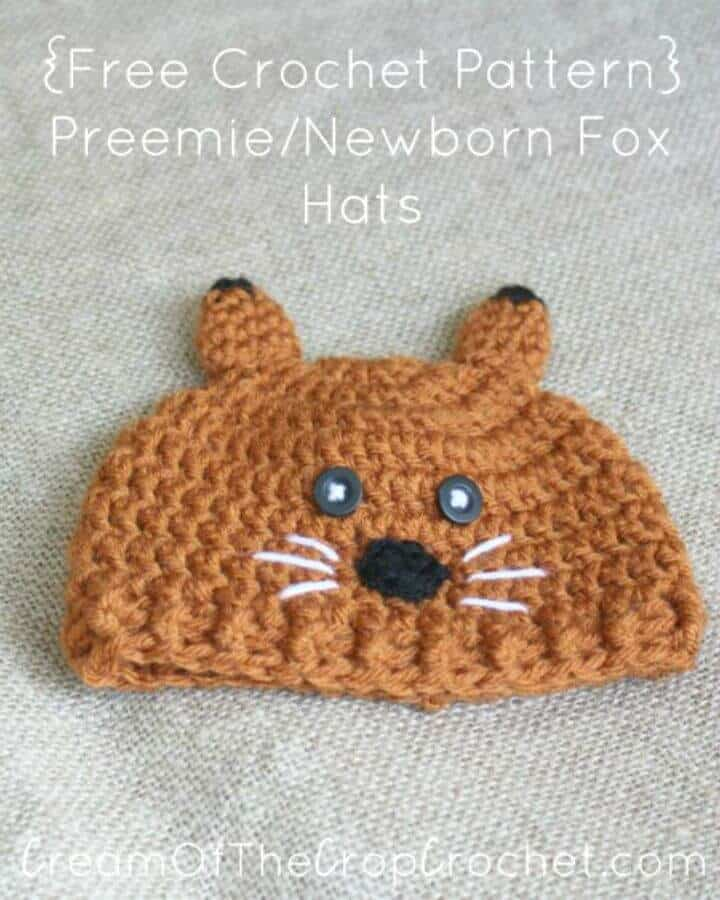 Patrón de sombrero de zorro recién nacido de prematuro de ganchillo gratis