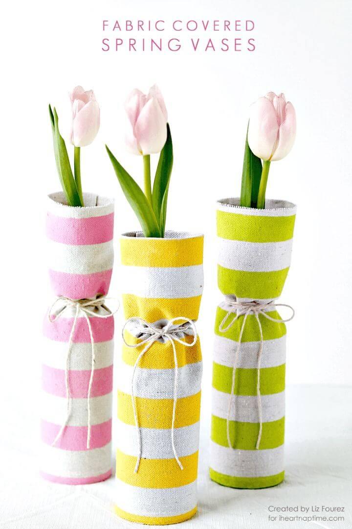 Floreros de primavera cubiertos de tela de bricolaje - Idea de centro de mesa