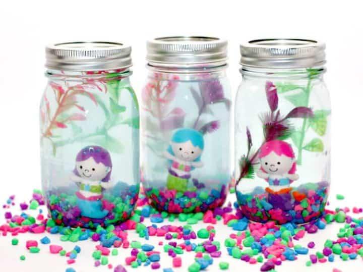 Bonito acuario DIY Mason Jar para niños