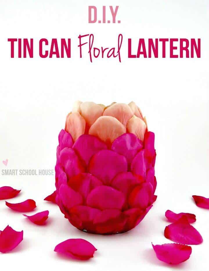 Bonita linterna floral de lata de bricolaje