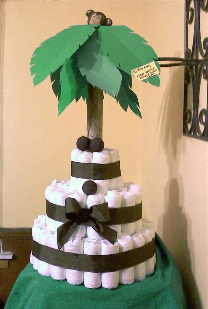 bonito pastel de pañales de palmera