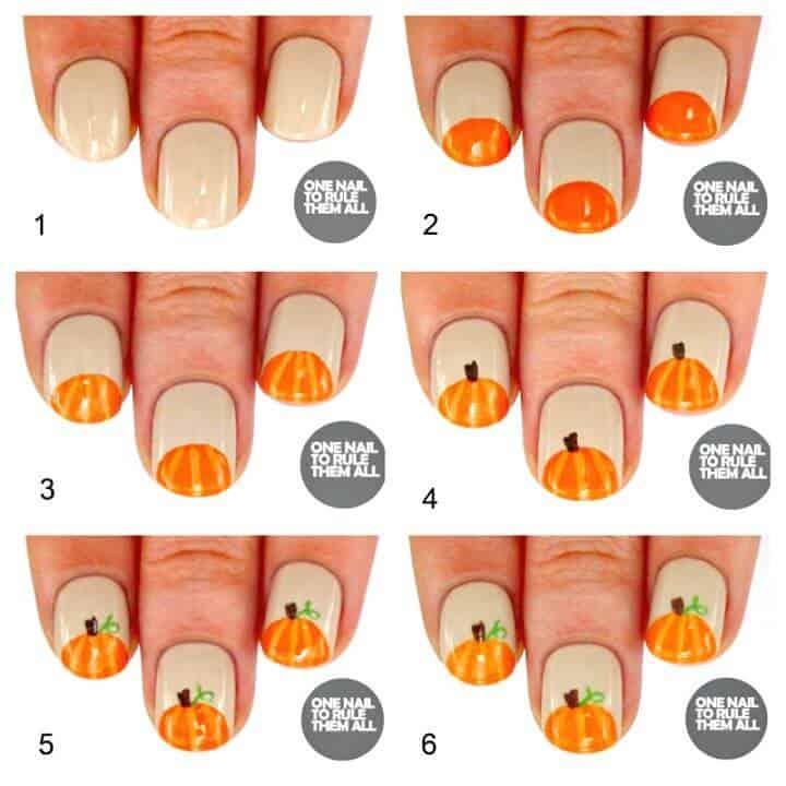 Tutorial fácil y gratuito de arte de uñas de calabazas