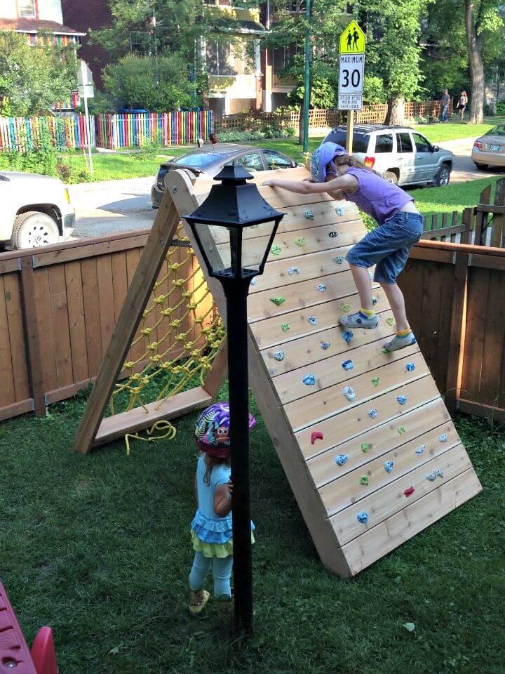 Muro de escalada de bricolaje y red de carga para niños