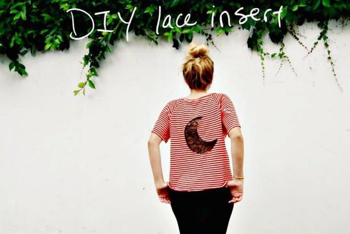 Camiseta rápida con inserción de encaje DIY