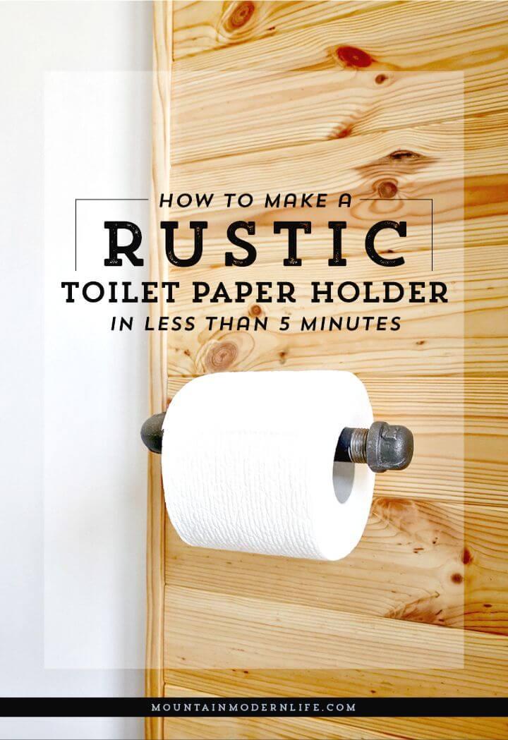 Soporte de papel higiénico rústico rápido DIY