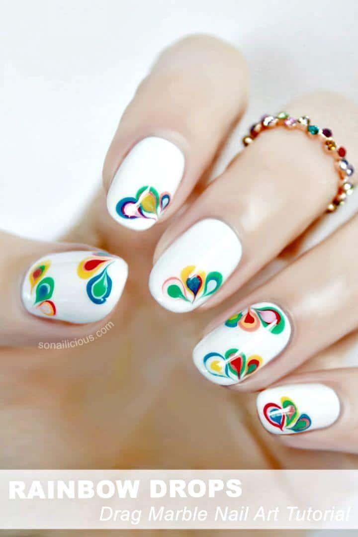 Fácil arte de uñas de mármol con gotas de arco iris de bricolaje