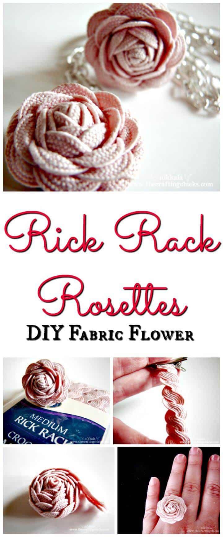 Rick rack rosette tela flor