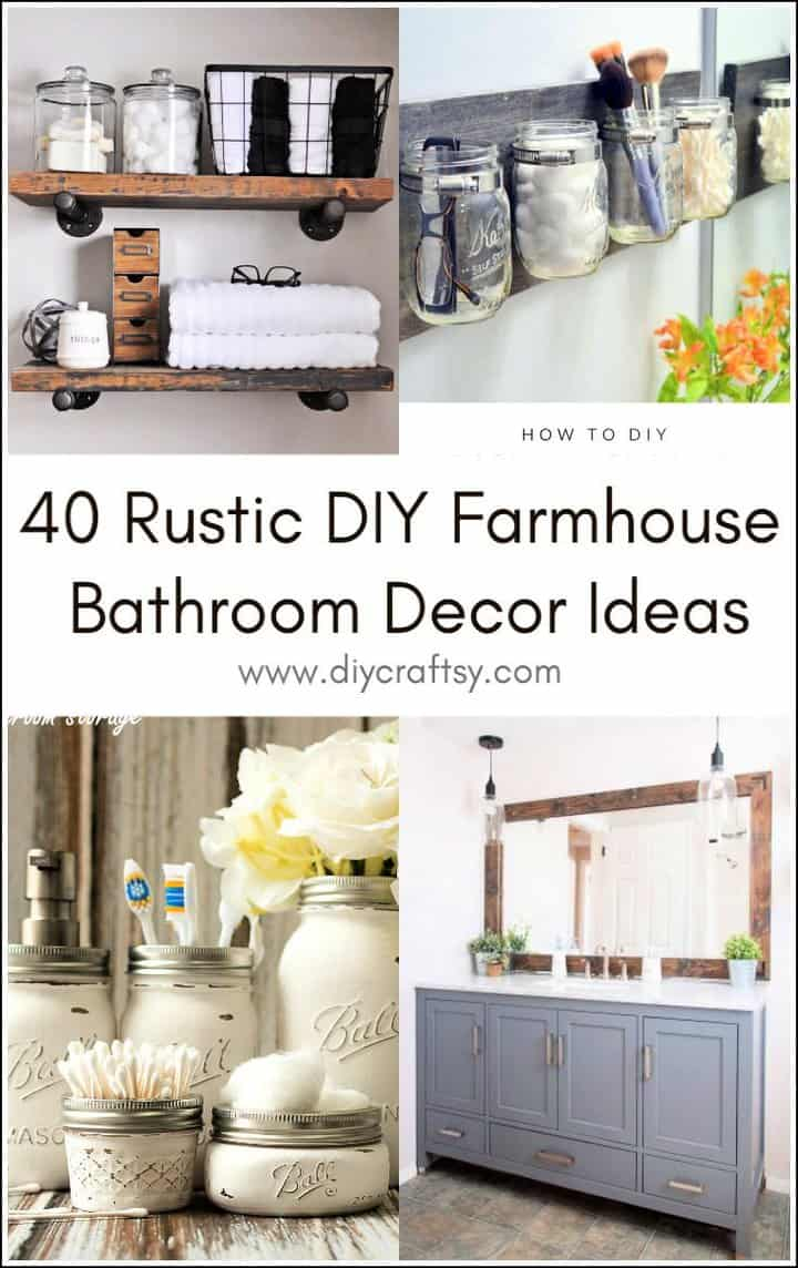 Ideas rústicas de decoración de baño de granja de bricolaje