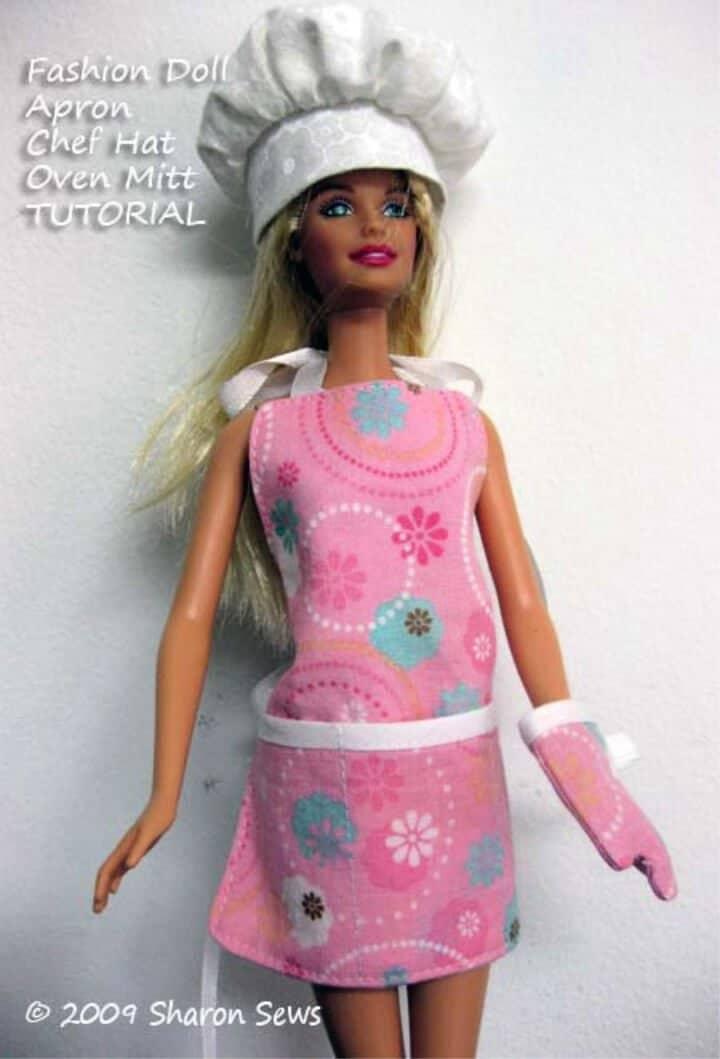 Coser un delantal de Barbie y una manopla para horno