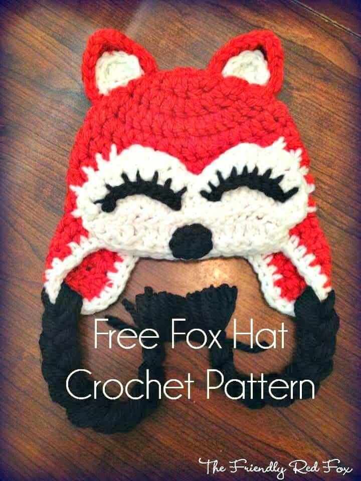 Patrón de sombrero de zorro de ganchillo simple y fácil gratis