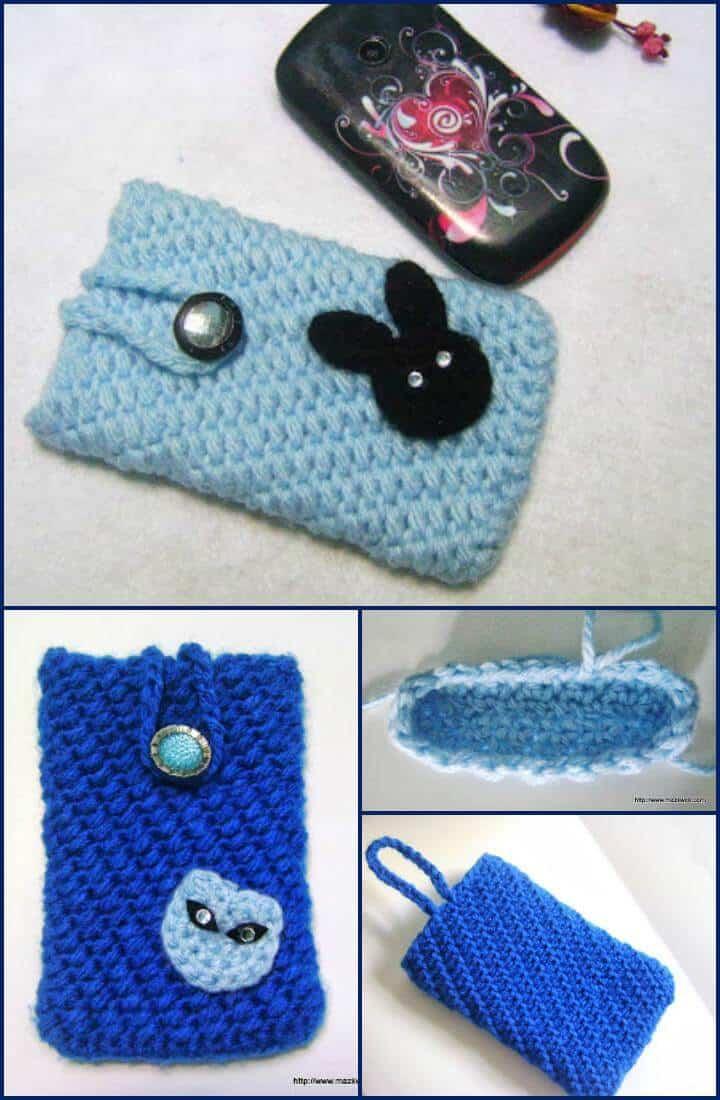 simple y elegante celular de crochet acogedor