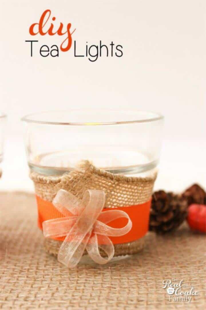 Luces de té de arpillera de bricolaje para la mesa