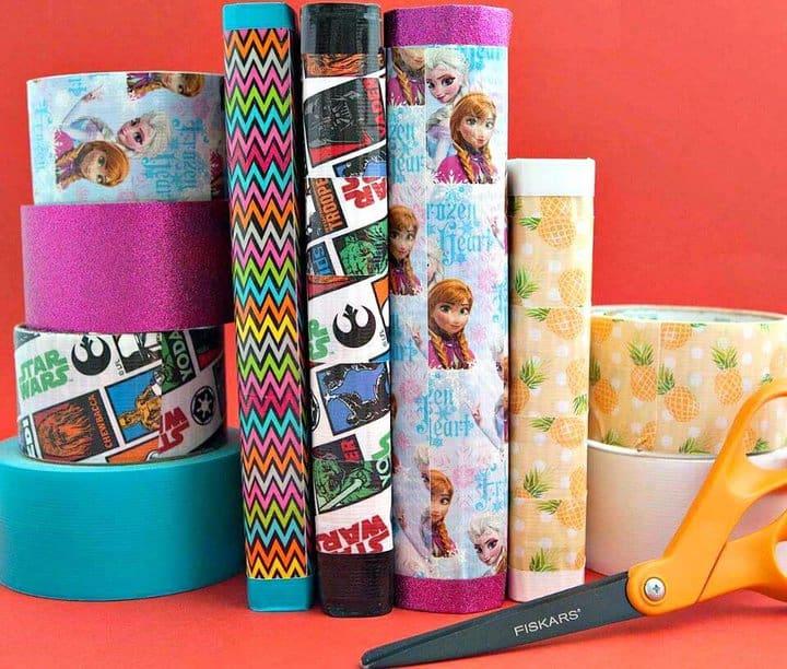 Cubiertas de libros de cinta adhesiva de bricolaje simples