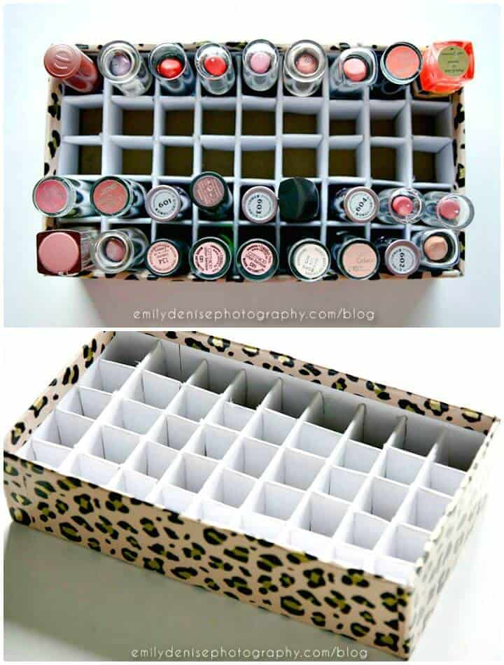 Soporte simple para lápiz labial de bricolaje - Organizador de maquillaje / Ideas de almacenamiento