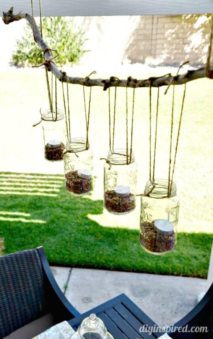 Candelabro de bricolaje al aire libre con tarro de albañil - Ideas de relámpagos