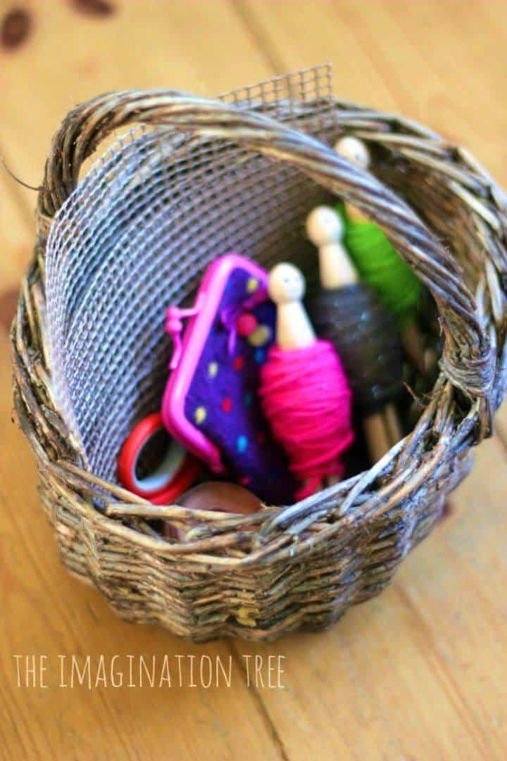 Cesta de costura de bricolaje simple para niños