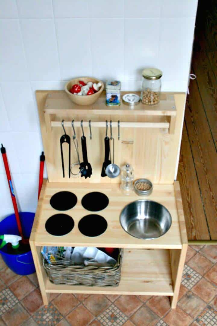 Cocina de juego de madera de bricolaje simple