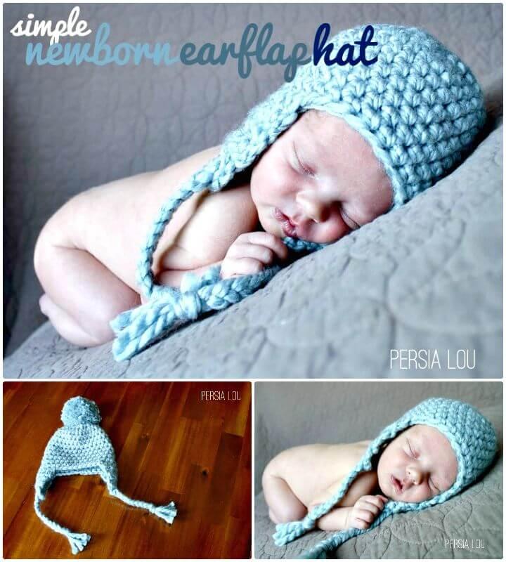 Patrón de sombrero con orejeras recién nacido de ganchillo simple y fácil gratis