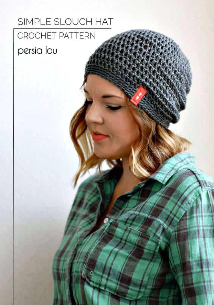 Patrón de sombrero holgado de ganchillo gratis simple