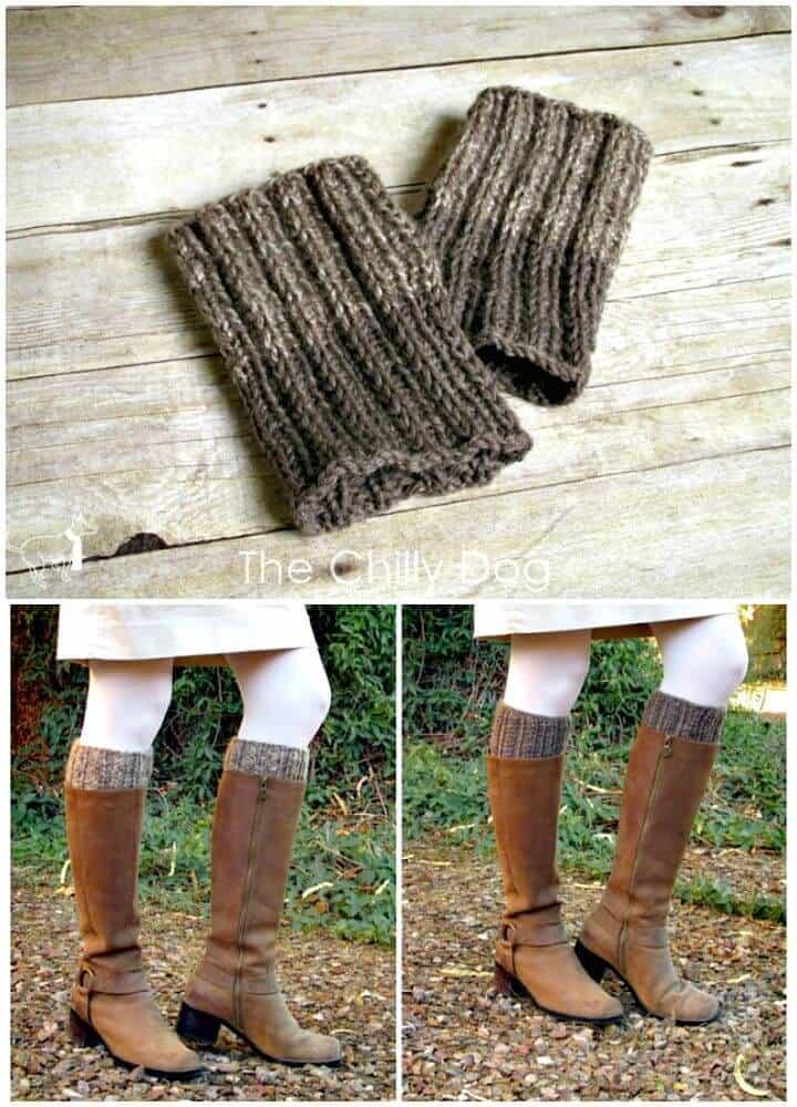 Patrón de puños de bota reversibles de tejer gratis simple y fácil