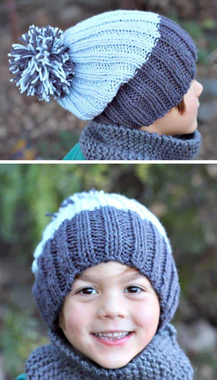Patrón de sombrero acanalado de tejer libre simple y fácil