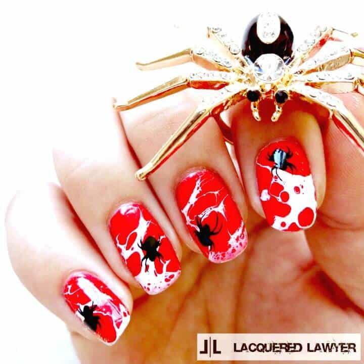 Arte de uñas con salpicaduras de tela de araña de bricolaje