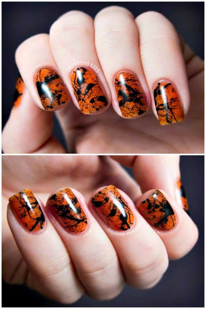 Arte de uñas con salpicaduras espeluznantes súper fáciles