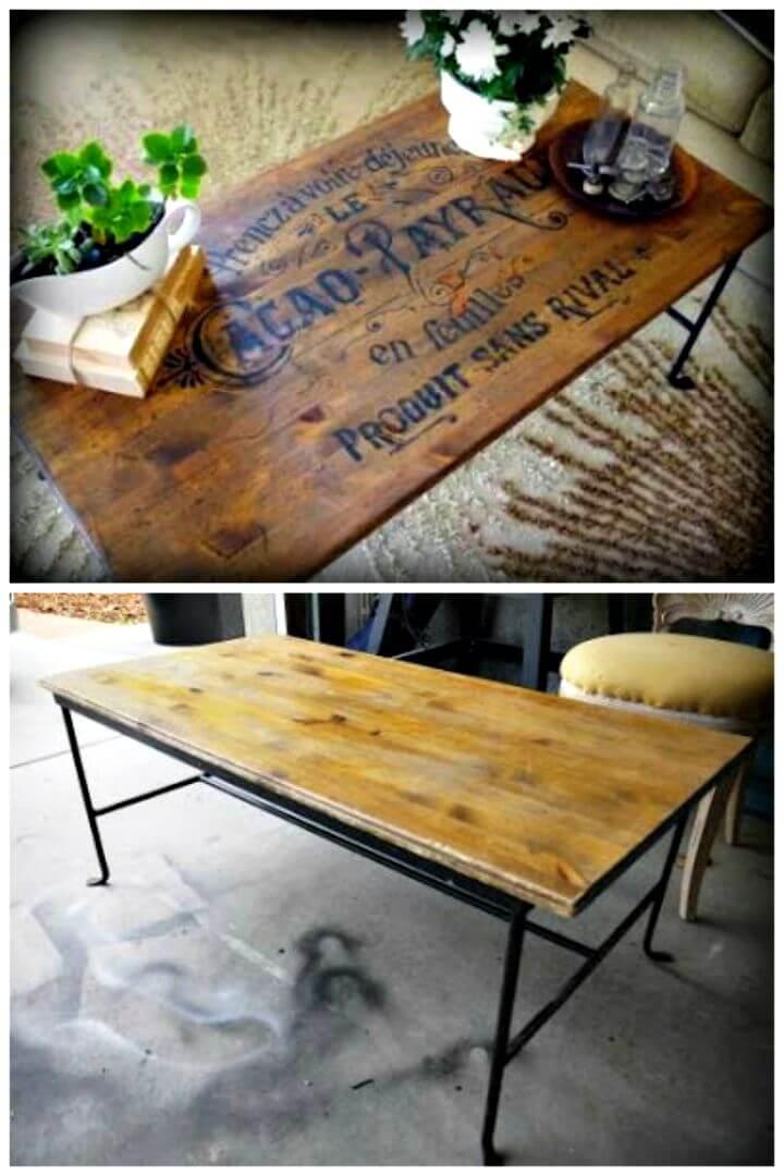 Cambio de imagen de mesa de bricolaje: teñido y estarcido
