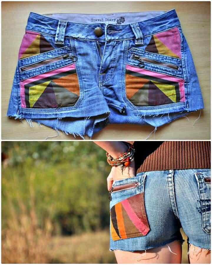 Pantalones cortos tribales de bricolaje con estilo