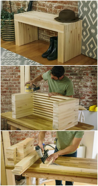 Elegante banco de madera con listones con tablas de pino 1
