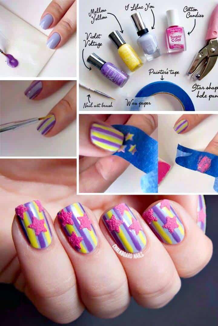 Arte de uñas con estrellas y rayas azucaradas fácil de bricolaje
