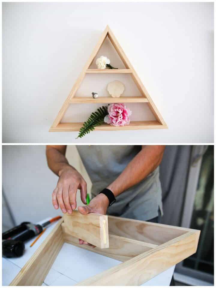 Estante triangular de bricolaje súper genial