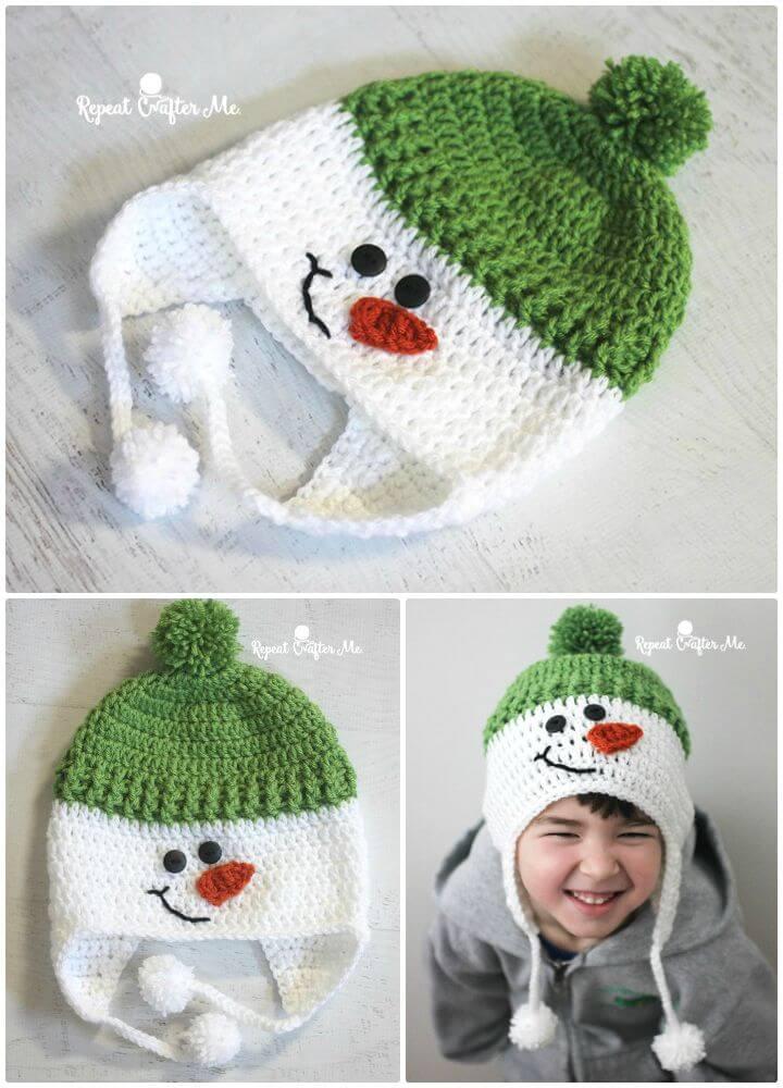 Patrón de sombrero de muñeco de nieve de ganchillo gratis para niños