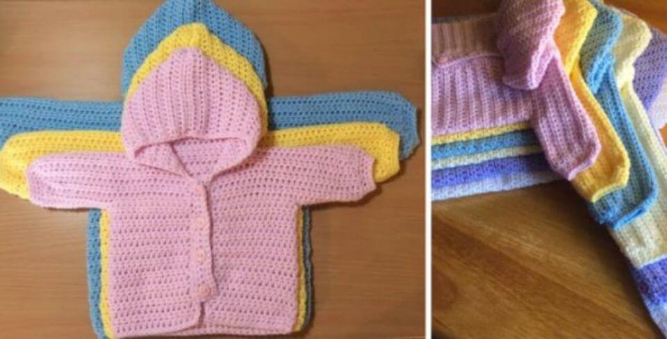 Patrón sin suéter de bebé tejido a ganchillo de tres vías + tutorial en video
