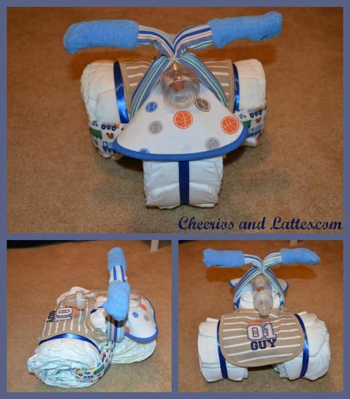 increíble pastel de pañales triciclo