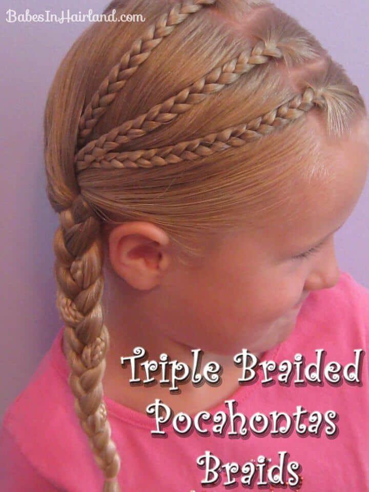 Trenzas de Pocahontas trenzadas triples