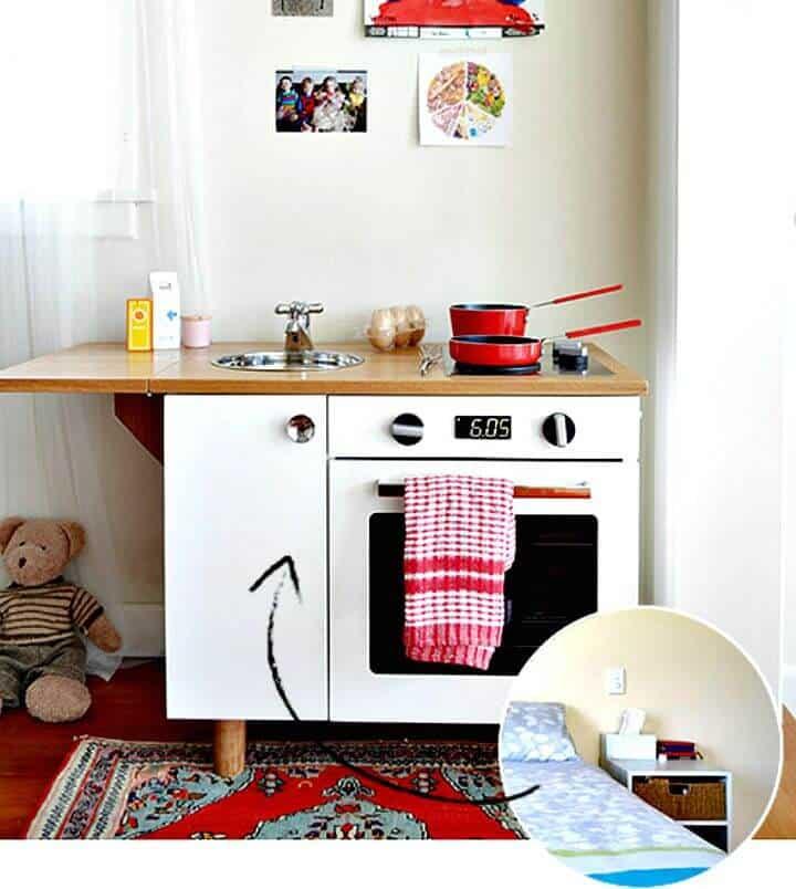 Convierta el juego de mesita de noche en una cocina de juguete