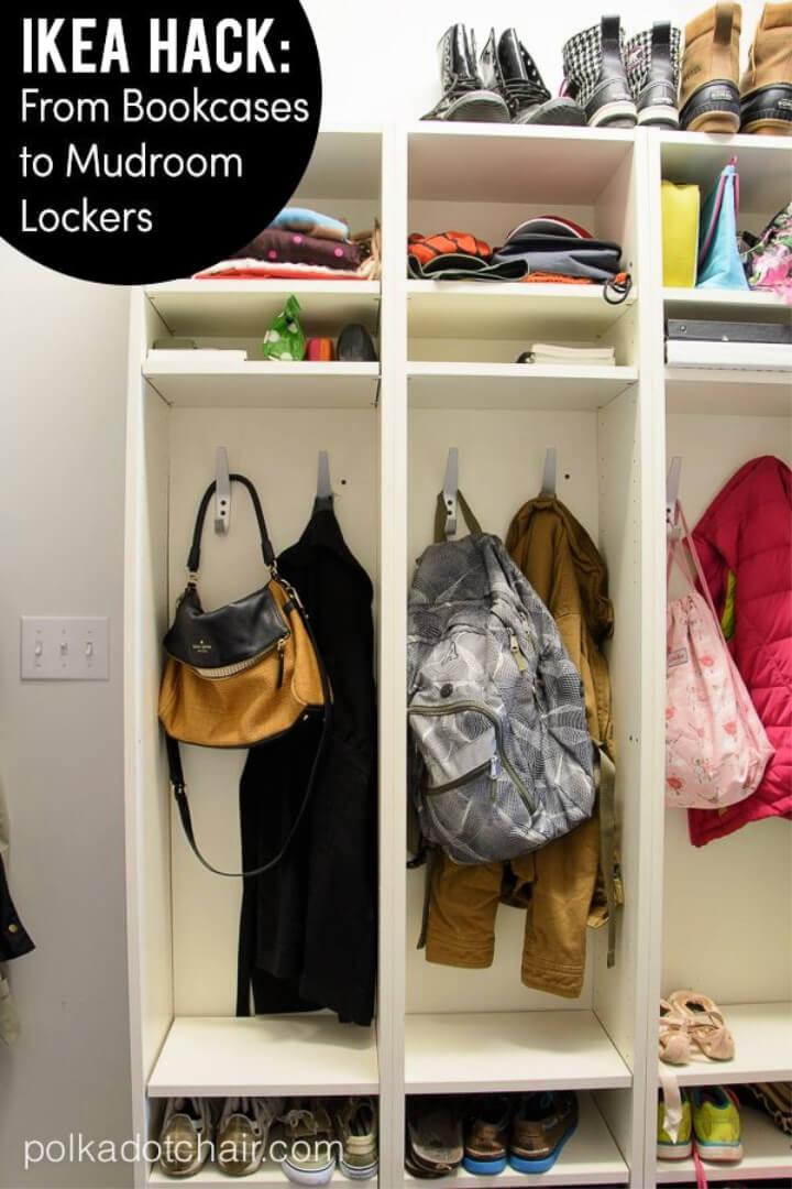 Convierta las estanterías para libros Ikea en casilleros Mudroom