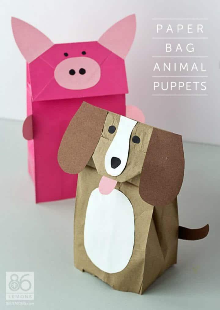Marionetas de animales de bolsa de papel de bricolaje únicas