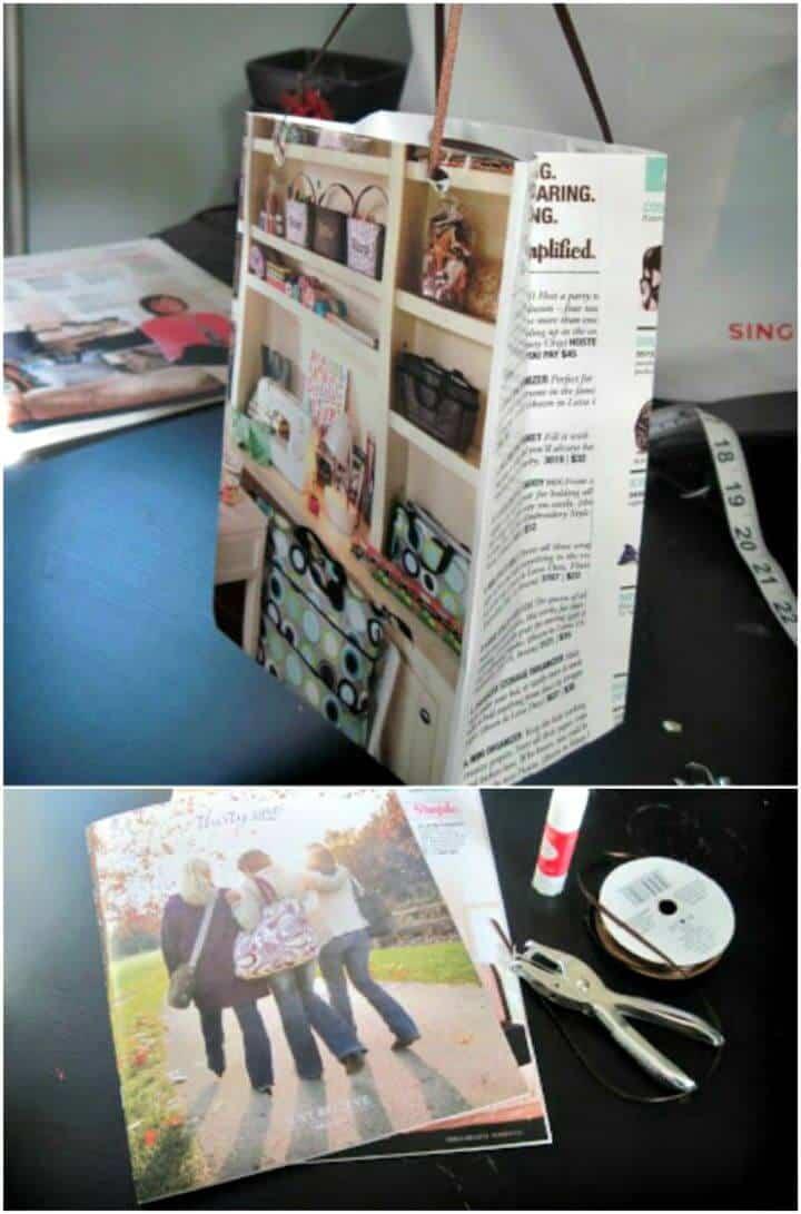 Bolsas de regalo para revistas recicladas de bricolaje