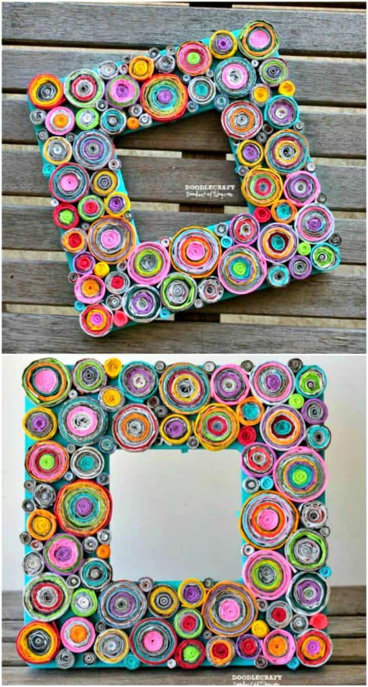 Marco de imagen de página de revista reciclado de bricolaje - Tutorial gratuito