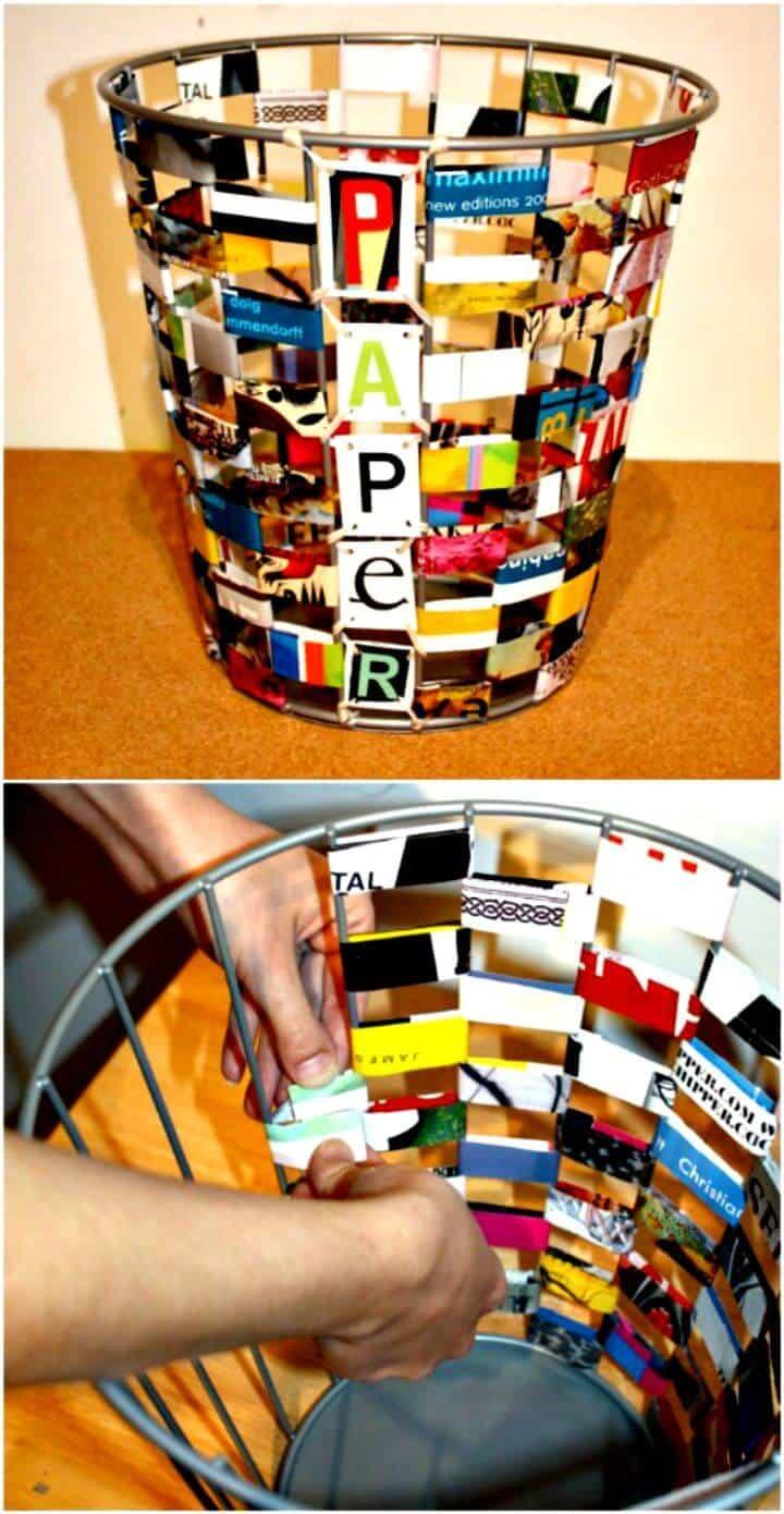 Bote de basura de revistas reciclado fácil - Tutorial gratuito