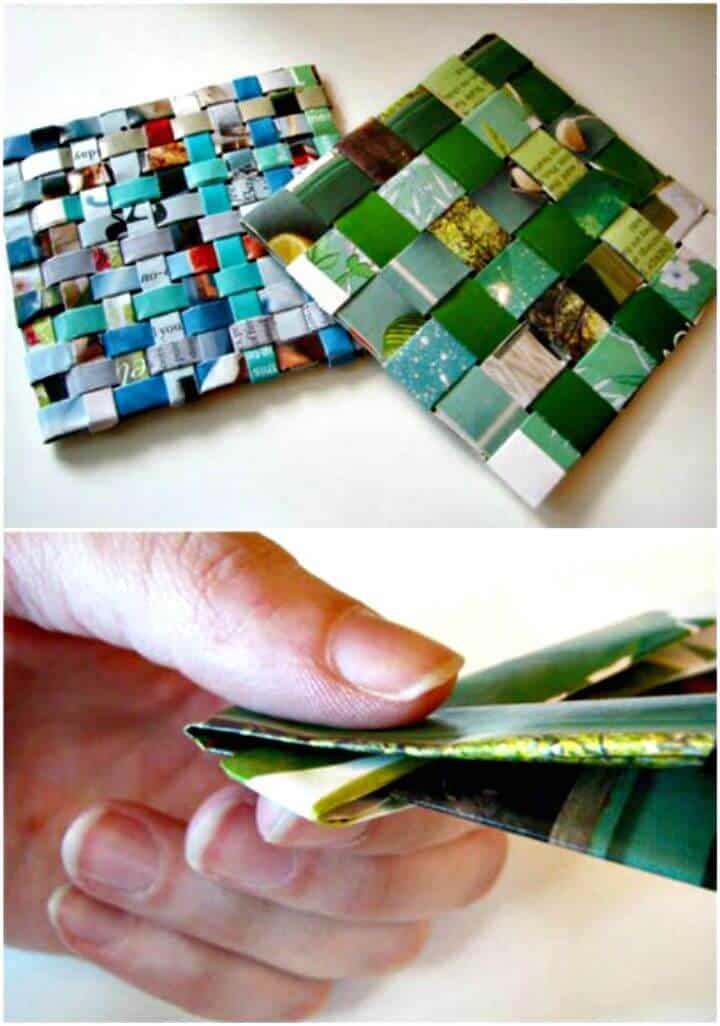 Posavasos de revista reciclados tejidos de bricolaje - Tutorial gratuito