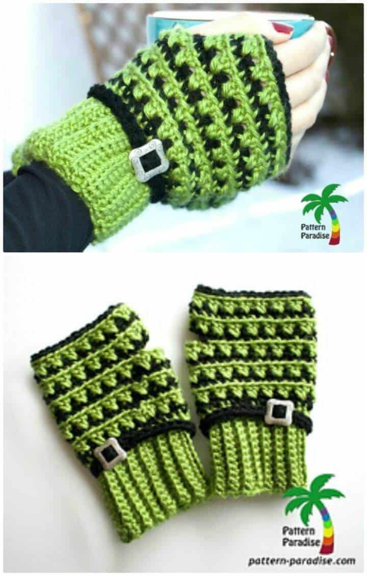 Cómo liberar el patrón de guantes sin dedos de crochet X Stitch