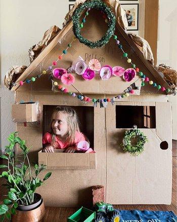 casa de cartón para niñas