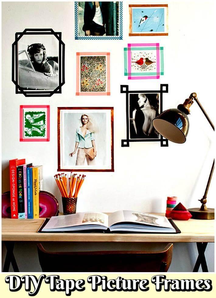 marcos de cuadros de cinta de bricolaje