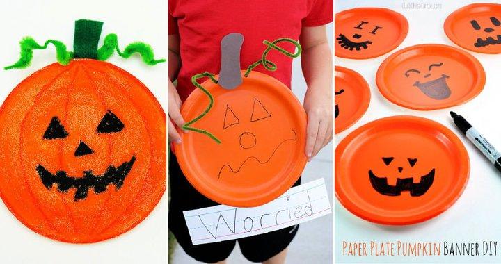 manualidades de calabazas con plato de papel para niños